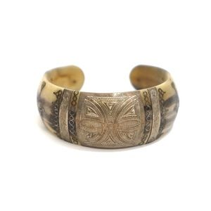 Jewelry - Horn Handmade Metal Inlay Bracelet Cuff